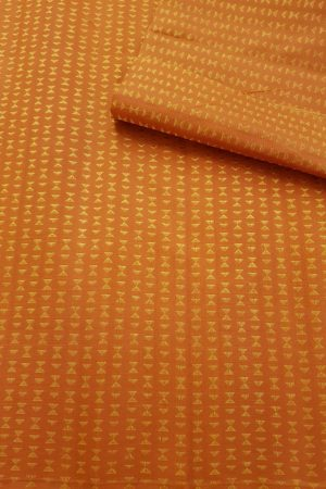 Orange triangle design kanchi silk fabric