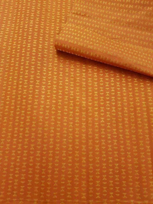 Orange triangle design kanchi silk fabric