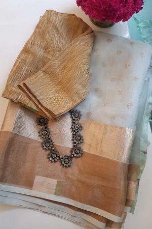 Pale green chandheri hand embroidered saree 1