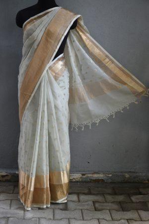 Pale green chandheri hand embroidered saree