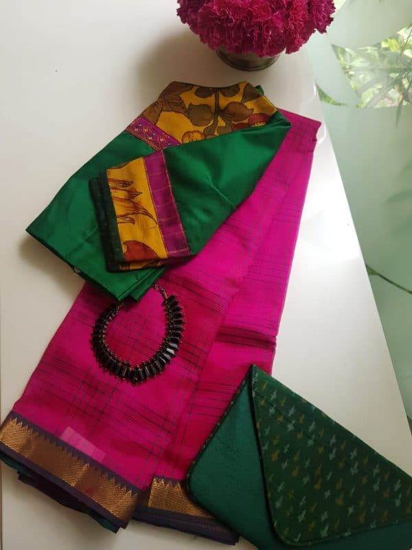 Pink checks handloom mangalagiri silk cotton saree 1