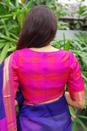 Pink checks kanchi silk blouse back