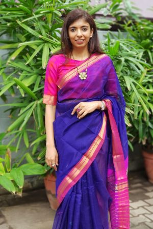 Pink checks kanchi silk blouse front