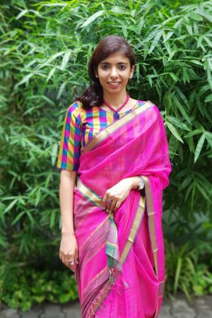 Pink checks mangalagiri handloom silk saree