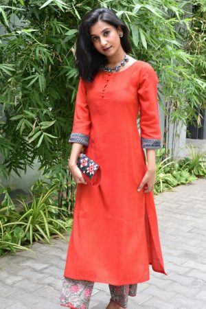 Red cotton kurta and printed bottom