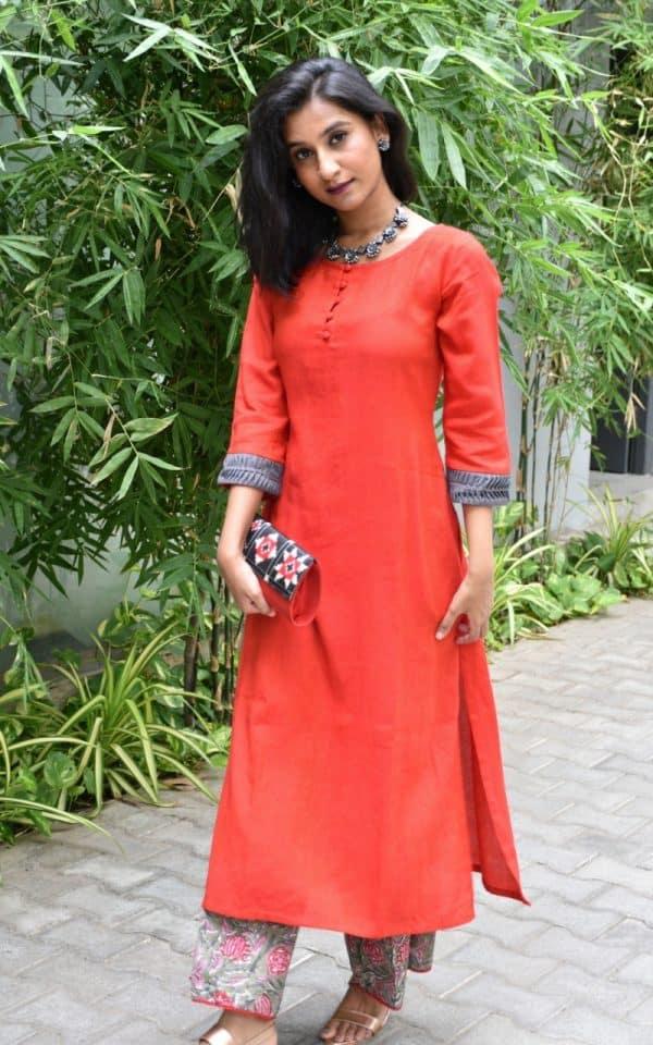 Red cotton kurta and printed bottom