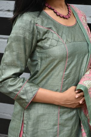 Russian green tussar suit with kantha dupatta 1