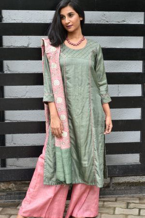 Russian green tussar suit with kantha dupatta