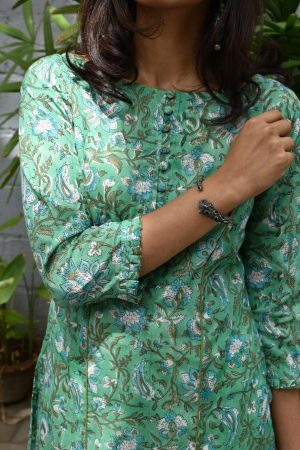 Teal cotton printed kurta