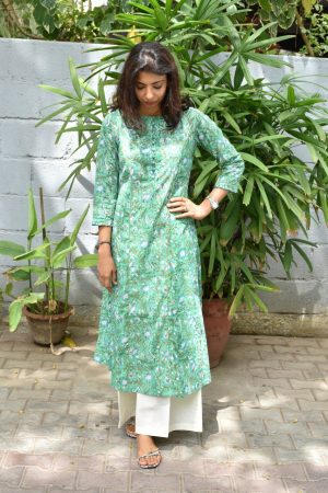 Teal green cotton printed kurta