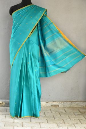 Teal mustard thread work kanchi silk saree 1