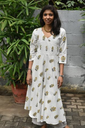 White printed cotton wrap kurta