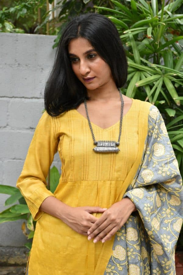 Yellow tussar suit with kantha dupatta 1