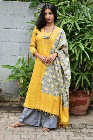 Yellow tussar suit with kantha dupatta