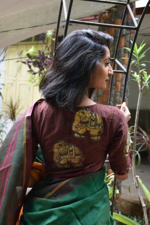 brown kalamkari applique blouse