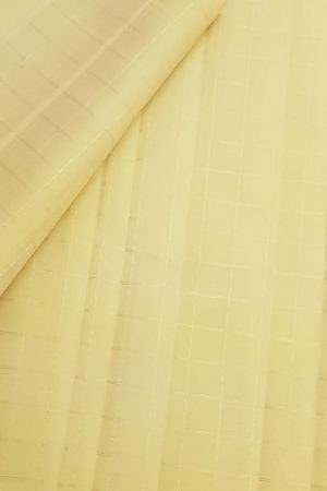 pale yellow zari checks kanchi silk fabric