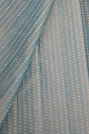 pastel blue zari kanchi silk fabric