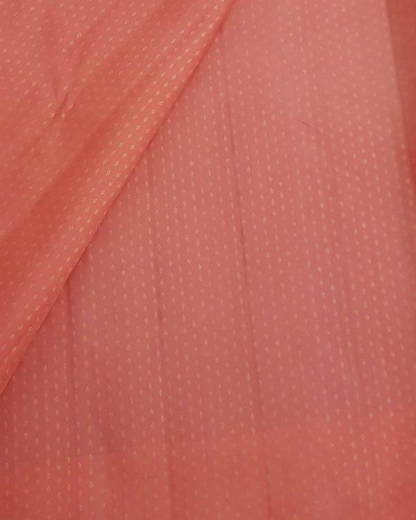 sorbet pink zari butti kanchi silk fabric