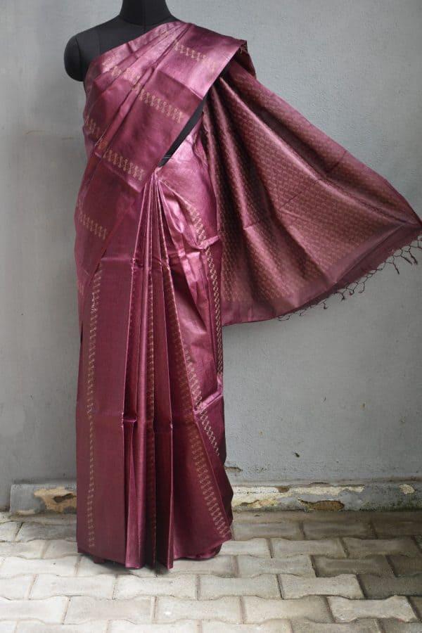 Aubergine thread woven tussar handloom saree 1