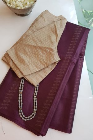 Aubergine thread woven tussar handloom saree