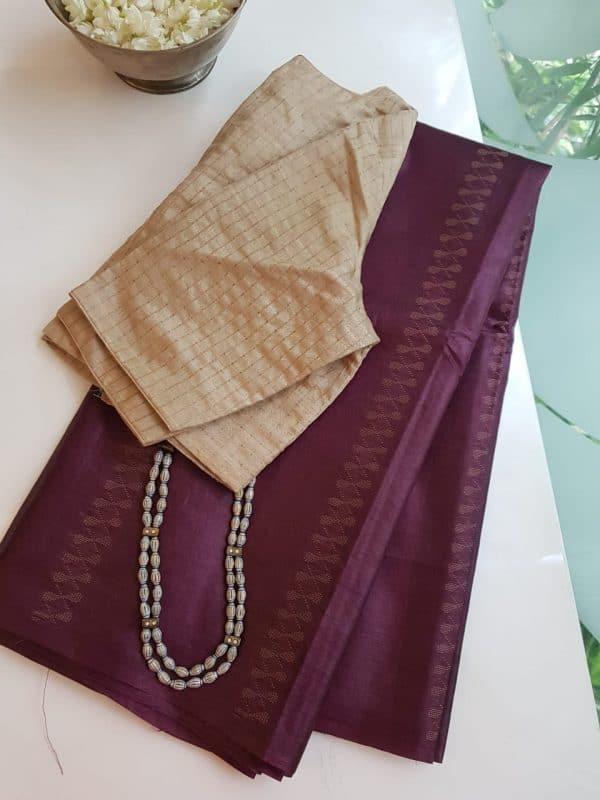 Aubergine thread woven tussar handloom saree