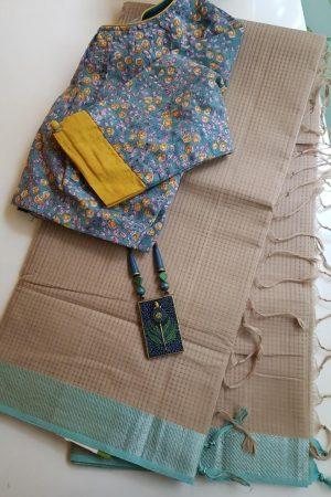 Beige blue mangalagiri missing checks cotton saree