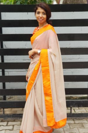 Beige chiffon saree with orange kanchi silk border 1