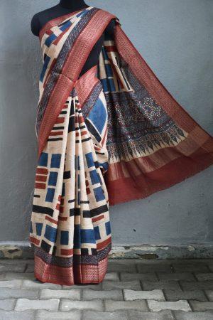 Beige linen with blue maroon ajrakh print saree 1