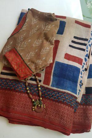 Beige linen with blue maroon ajrakh print saree