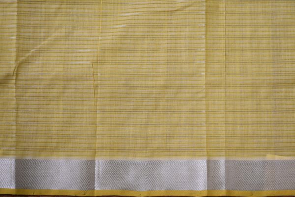 Beige silver zari checks mangalagiri cotton saree 1