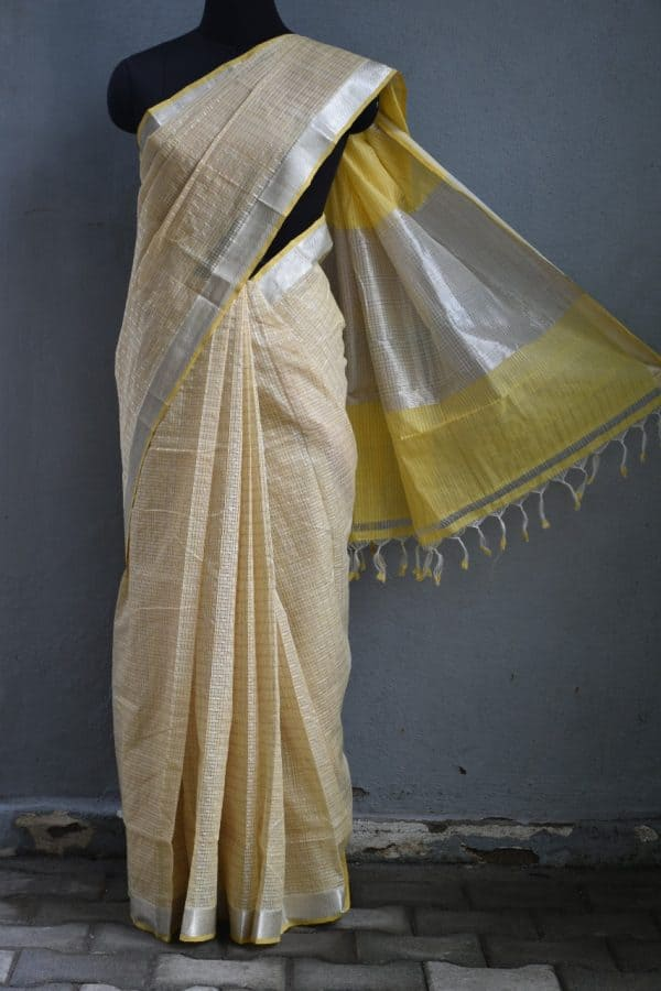 Beige silver zari checks mangalagiri cotton saree 2