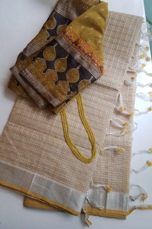 Beige silver zari checks mangalagiri cotton saree