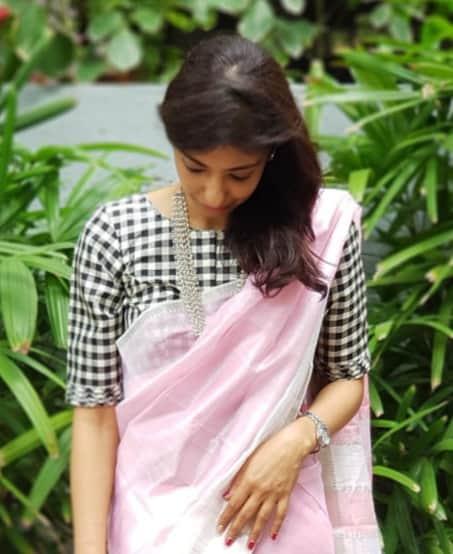 Black and white checks silk blouse