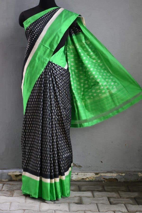 Black green ikat tussar saree 1