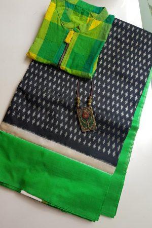 Black green ikat tussar saree