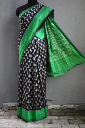 Black green triangle ikat tussar saree 1