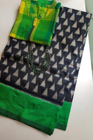Black green triangle ikat tussar saree