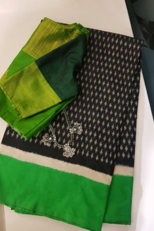 Black green tussar ikat saree