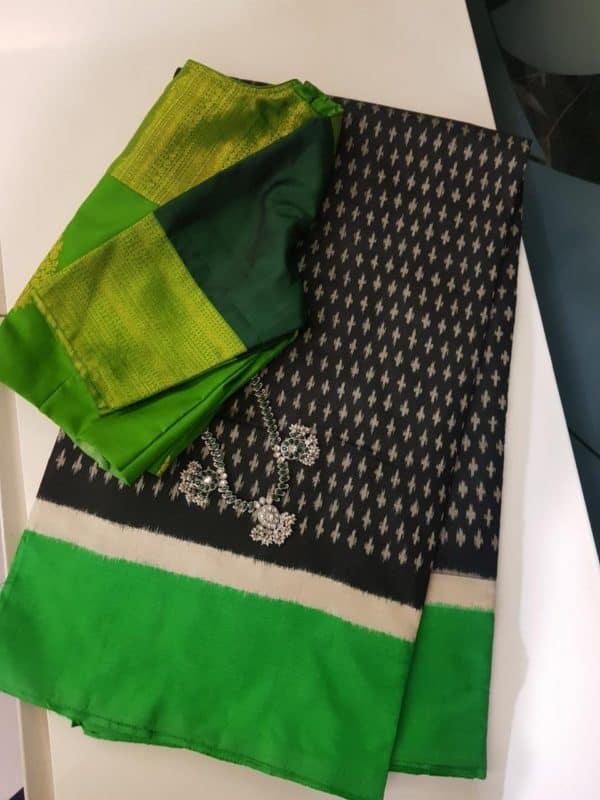 Black green tussar ikat saree