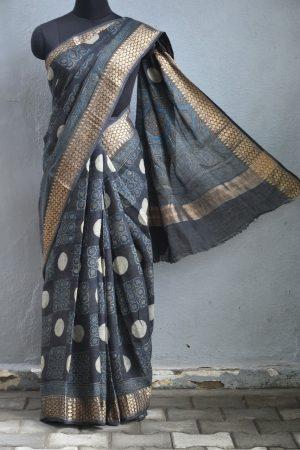 Black polka dots ajrakh print linen saree 1