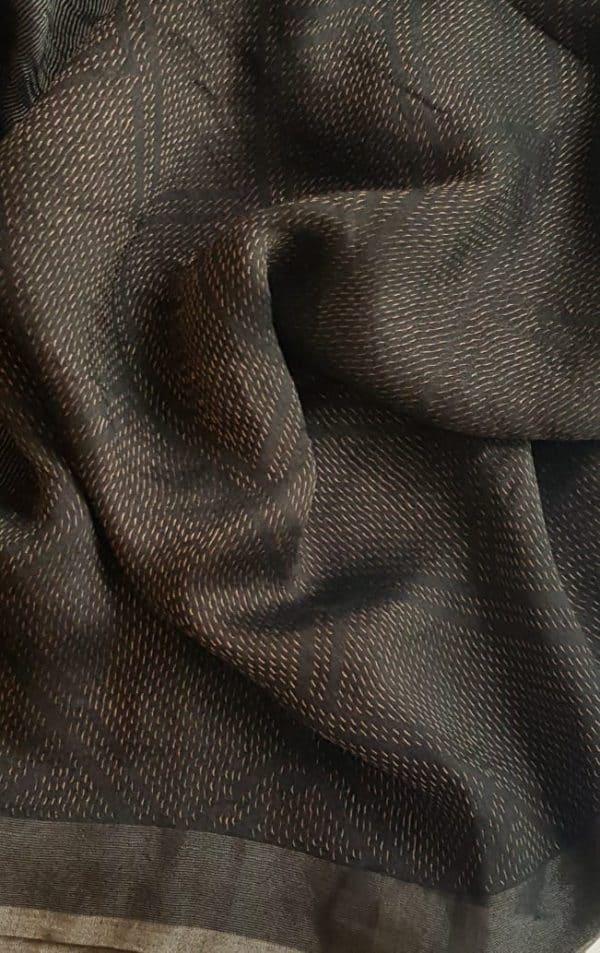 Black rich soy silk saree 1