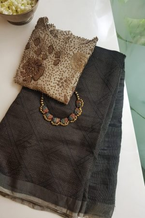 Black rich soy silk saree