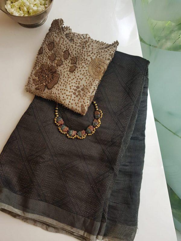 Black rich soy silk saree