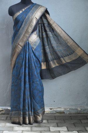 Blue ajrakh print linen saree 1
