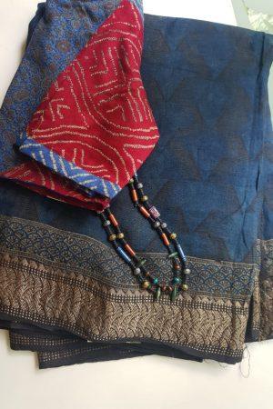 Blue ajrakh print linen saree