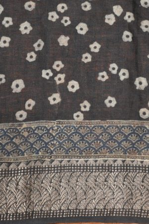 Blue ajrakh print linen saree blouse