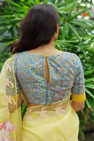 Blue floral printed blouse back