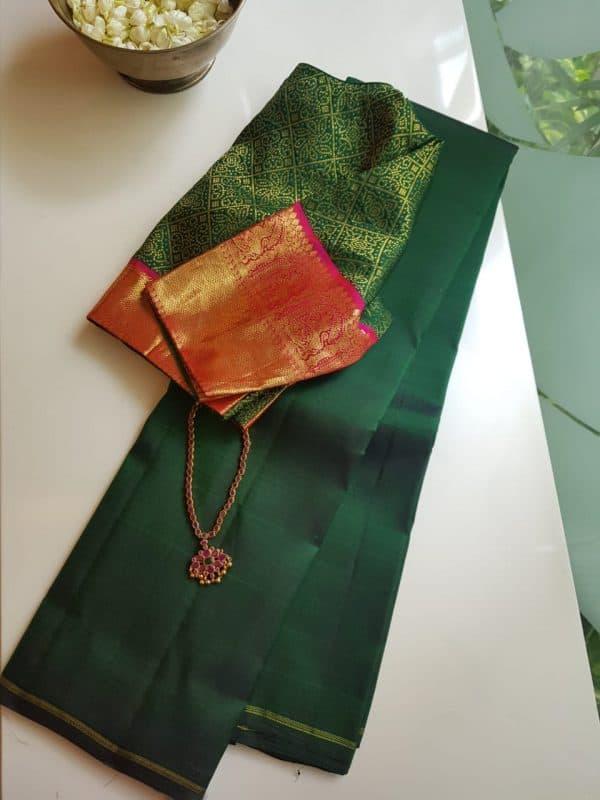 Bottle green lavanyam kanchi silk saree