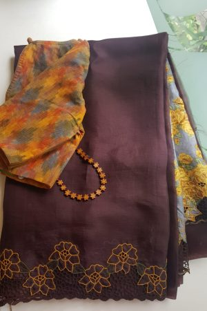Brown organza cutwork saree with printed pallu 1