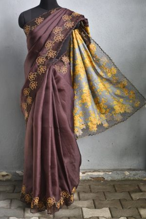Brown organza cutwork saree with printed pallu